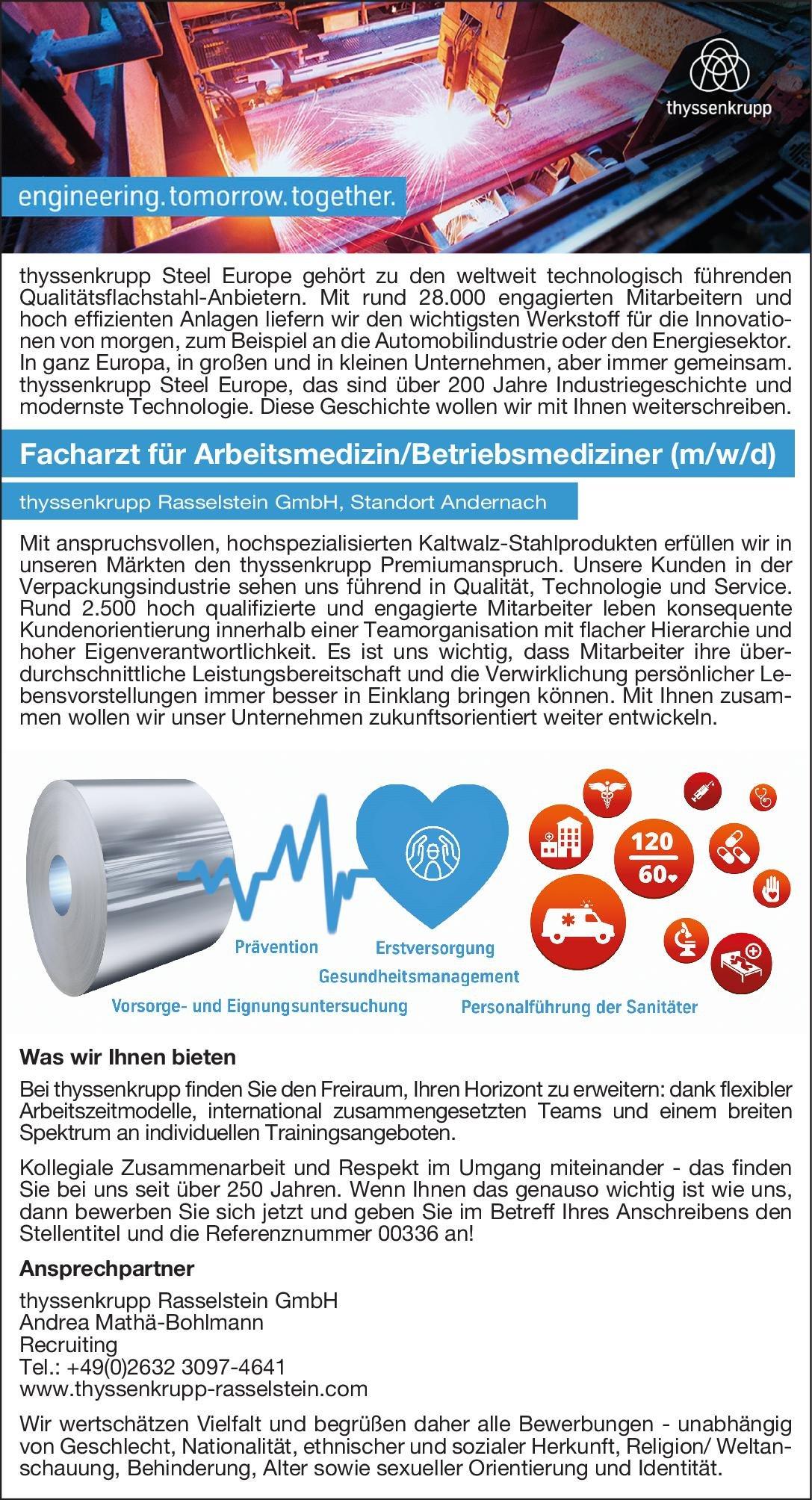 thyssenkrupp Rasselstein GmbH Facharzt für Arbeitsmedizin/Betriebsmediziner (m/w/d) Arbeitsmedizin Arzt / Facharzt, Betriebsarzt
