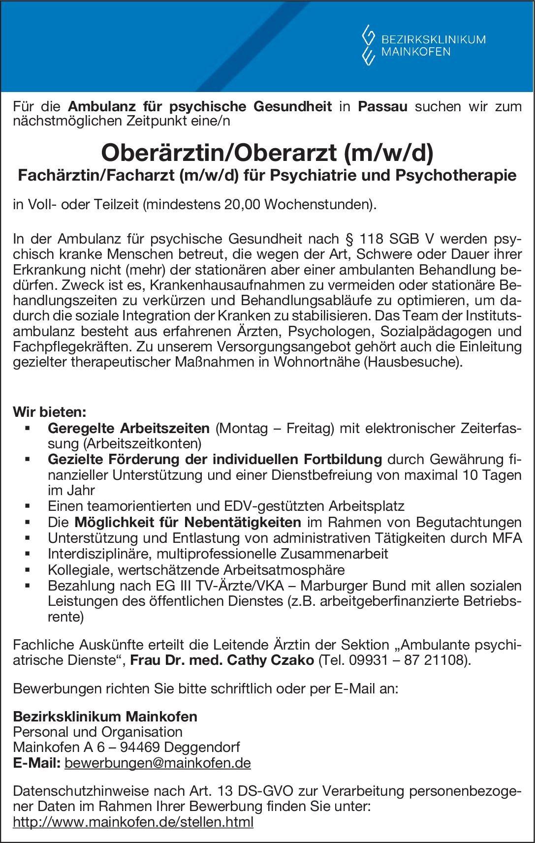 Bezirksklinikum Mainkofen - Ambulanz für psychische Gesundheit Oberärztin/Oberarzt (m/w/d) - Fachärztin/Facharzt (m/w/d) für Psychiatrie und Psychotherapie  Psychiatrie und Psychotherapie, Psychiatrie und Psychotherapie Oberarzt