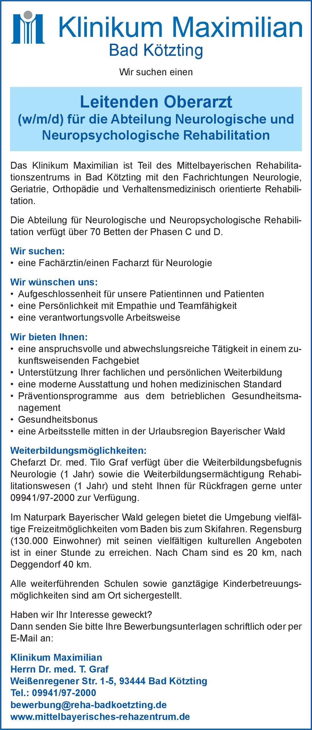 Klinikum Maximilian Leitender Oberarzt(w/m/d) für die Abteilung Neurologische und Neuropsychologische Rehabilitation Neurologie Oberarzt