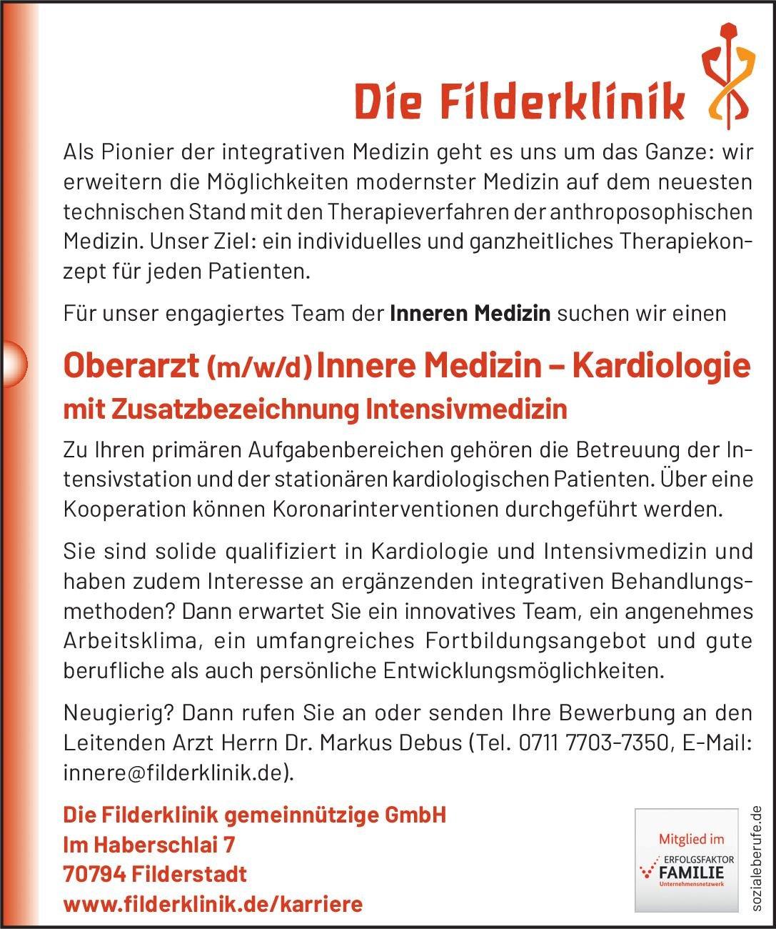 Die Filderklinik gemeinnützige GmbH Oberarzt (m/w/d) Innere Medizin – Kardiologie mit Zusatzbezeichnung Intensivmedizin  Innere Medizin und Kardiologie, Anästhesiologie / Intensivmedizin, Innere Medizin Oberarzt