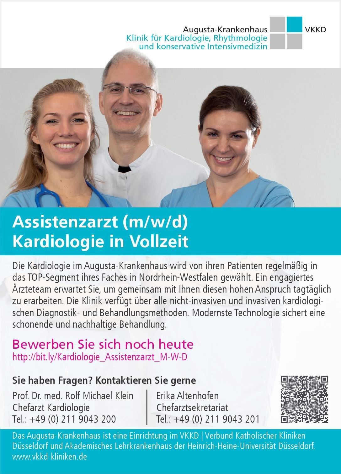 VKKD Augusta-Krankenhaus Assistenzarzt (m/w/d) Kardiologie in Vollzeit  Innere Medizin und Kardiologie, Innere Medizin Assistenzarzt / Arzt in Weiterbildung