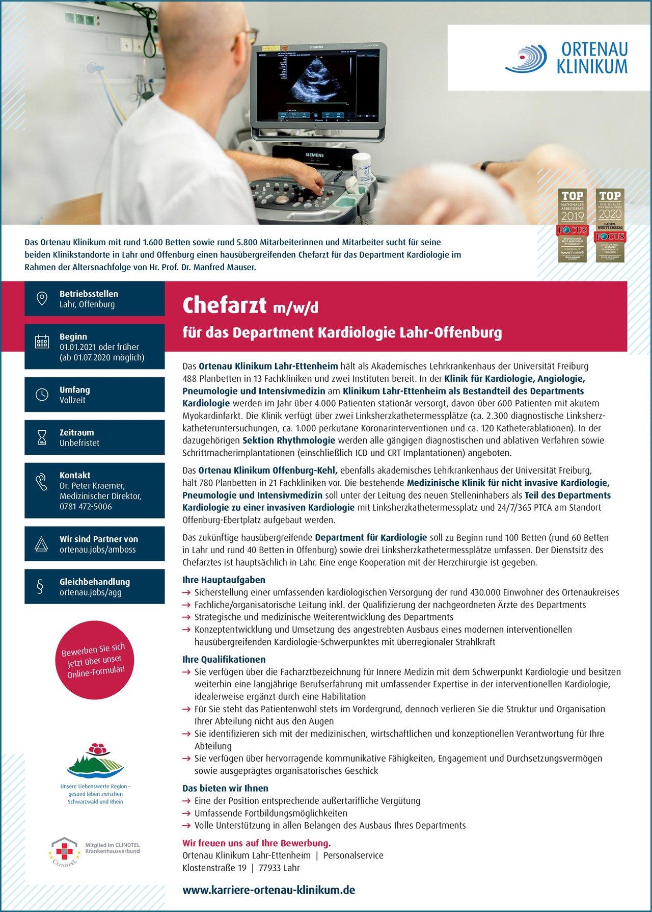 Ortenau Klinikum Lahr-Ettenheim Chefarzt m/w/d für das Department Kardiologie Lahr-Offenburg  Innere Medizin und Kardiologie, Innere Medizin Chefarzt