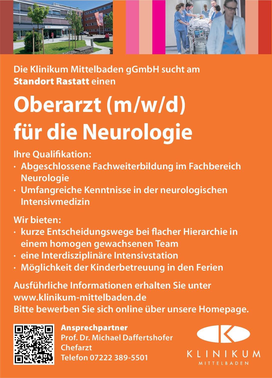 Klinikum Mittelbaden gGmbH Oberarzt (m/w/d) für die Neurologie Neurologie Oberarzt