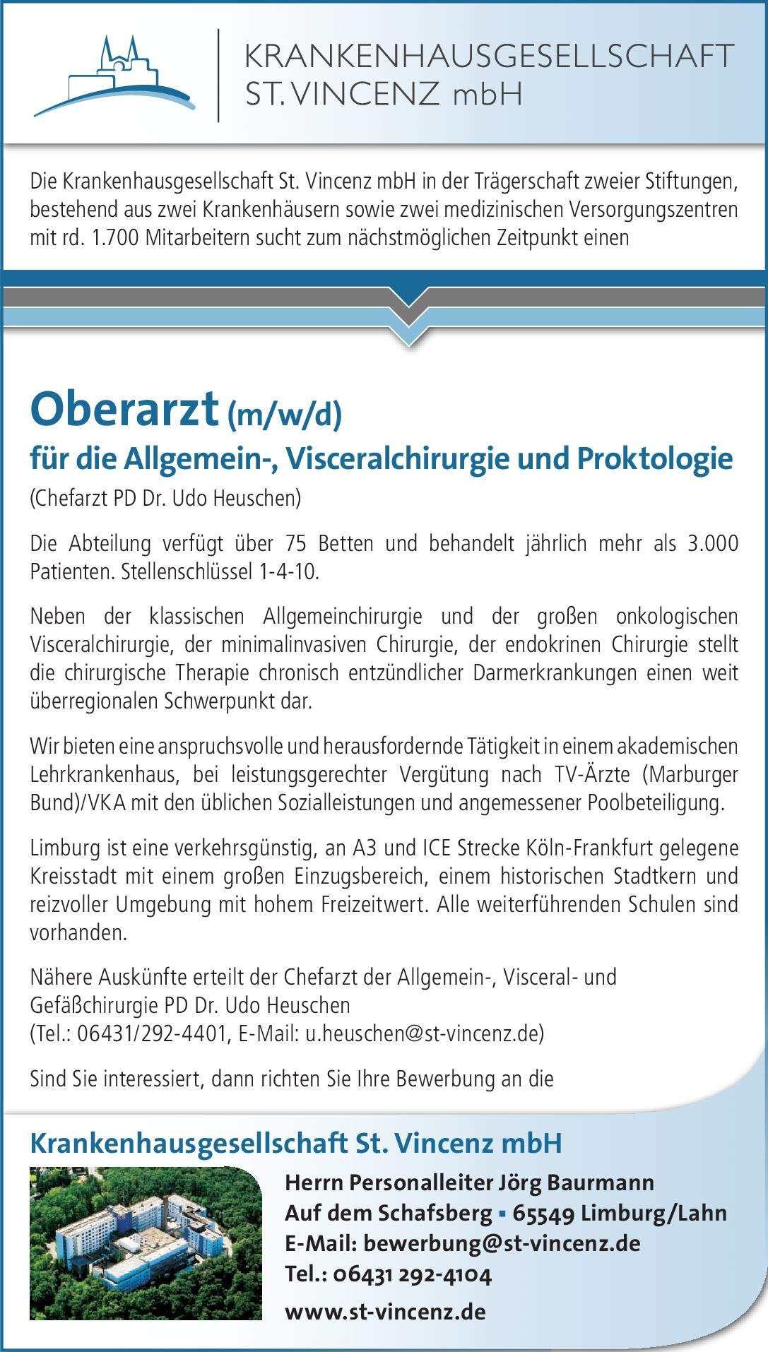 Krankenhausgesellschaft St. Vincenz mbH Oberarzt (m/w/d) für die Allgemein-, Visceralchirurgie und Proktologie  Allgemeinchirurgie, Viszeralchirurgie, Chirurgie Oberarzt
