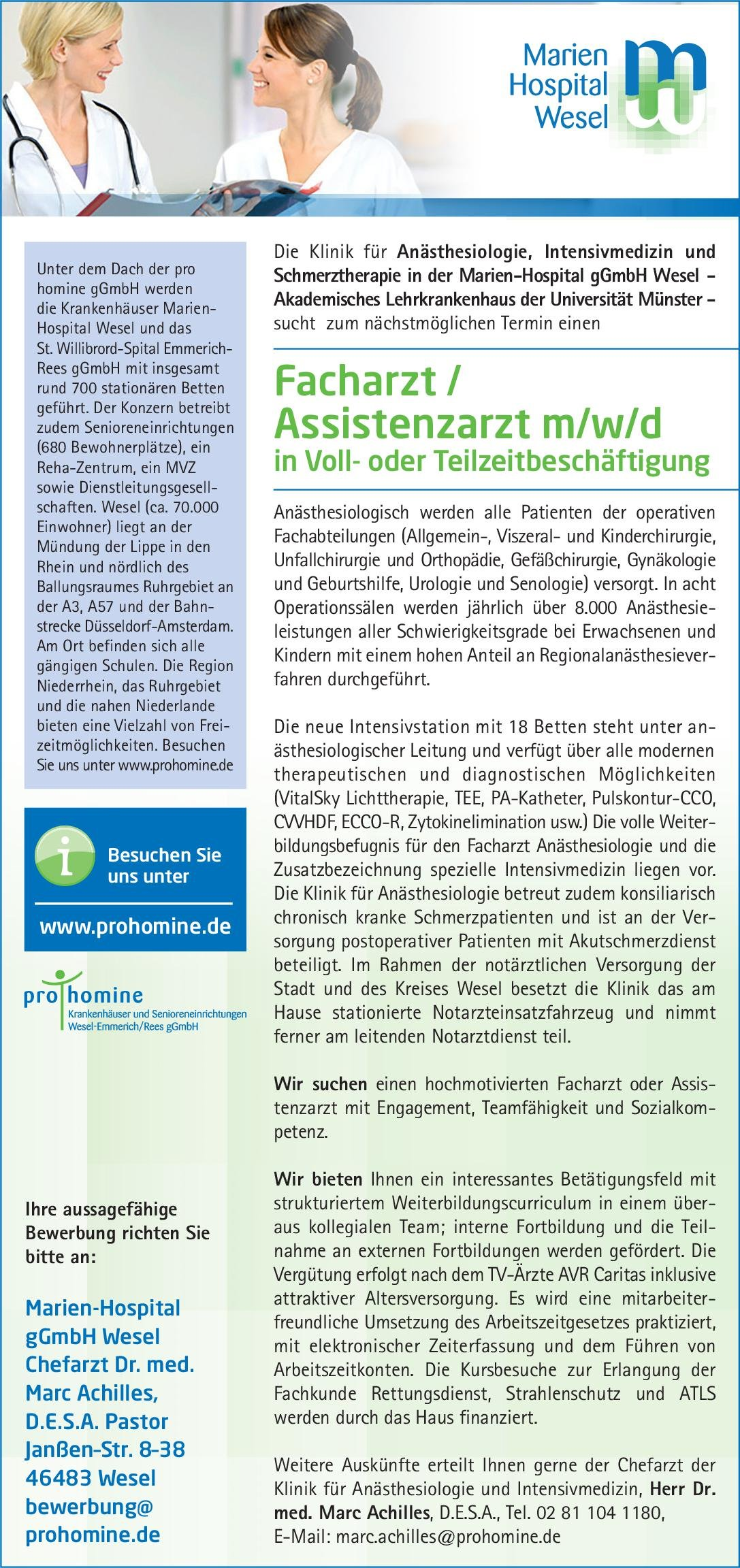 Marien-Hospital gGmbH Wesel Facharzt /Assistenzarzt m/w/d Anästhesiologie Anästhesiologie / Intensivmedizin Arzt / Facharzt