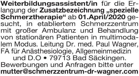 Schmerzzentrum Weiterbildungsassistent/in / spezielleSchmerztherapie * ohne Gebiete Assistenzarzt / Arzt in Weiterbildung
