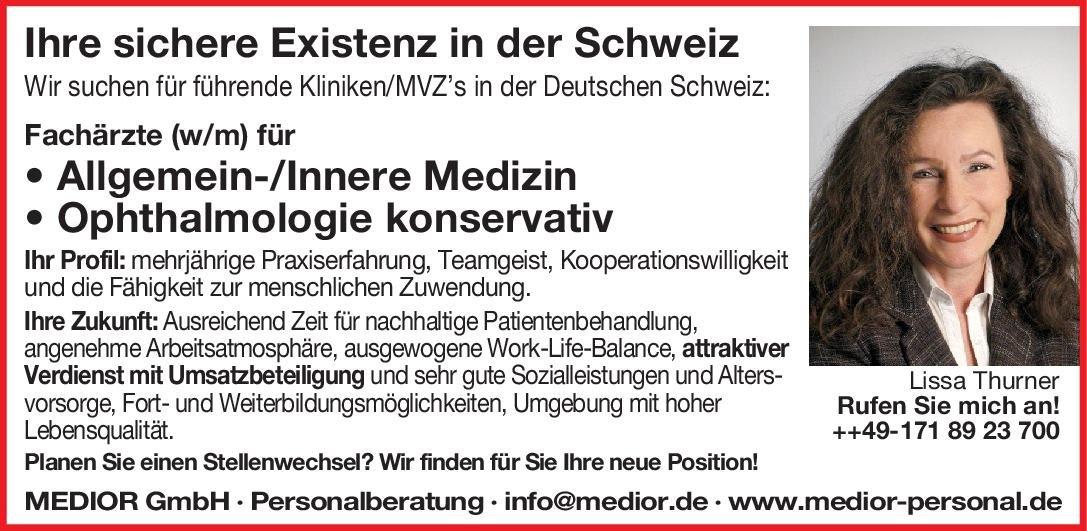 MEDIOR GmbH Fachärzte (w/m) Ophthalmologie konservativ Augenheilkunde Arzt / Facharzt