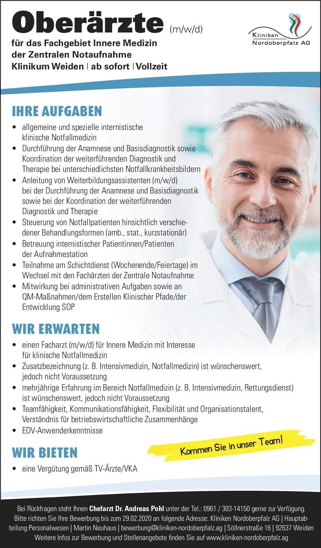 Kliniken Nordoberpfalz AG - Klinikum Weiden Oberärzte für das Fachgebiet Innere Medizin der Zentralen Notaufnahme  Innere Medizin, Innere Medizin, Notfallmedizin Oberarzt