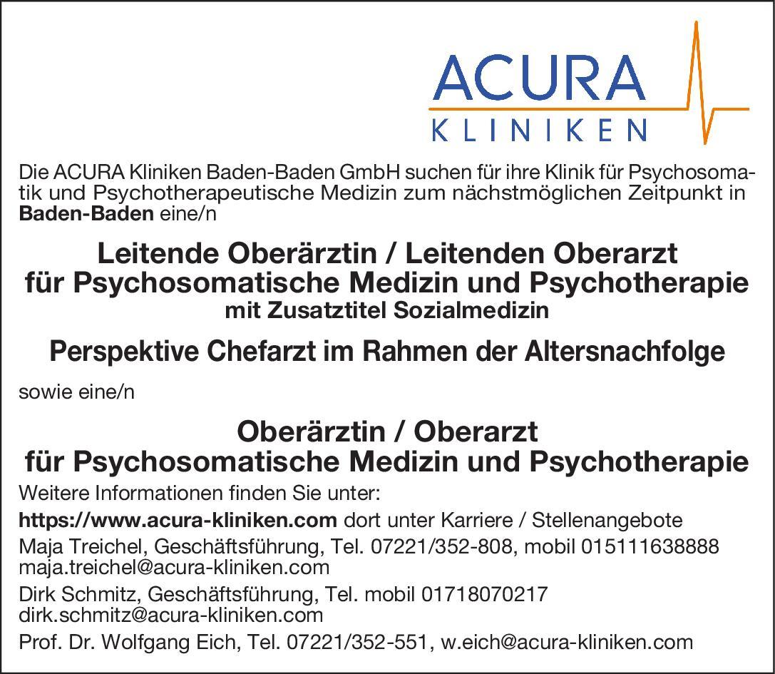 ACURA Kliniken Oberärztin/Oberarzt für Psychosomatische Medizin und Psychotherapie Psychosomatische Medizin und Psychotherapie Oberarzt