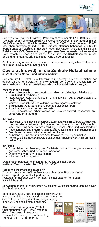 Klinik Ernst von Bergmann gGmbH Oberarzt (m/w/d) für die Zentrale Notaufnahme  Allgemeinchirurgie, Innere Medizin, Allgemeinmedizin Oberarzt