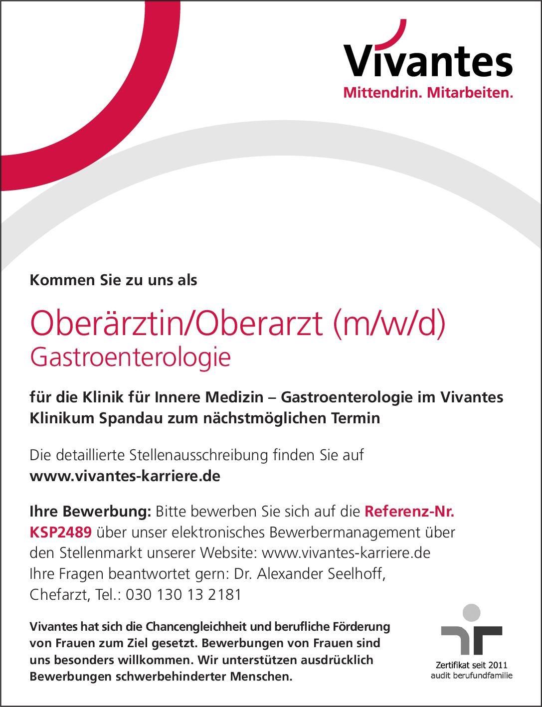 Vivantes Klinikum Spandau Oberärztin/Oberarzt (m/w/d) Gastroenterologie  Innere Medizin und Gastroenterologie, Innere Medizin Oberarzt