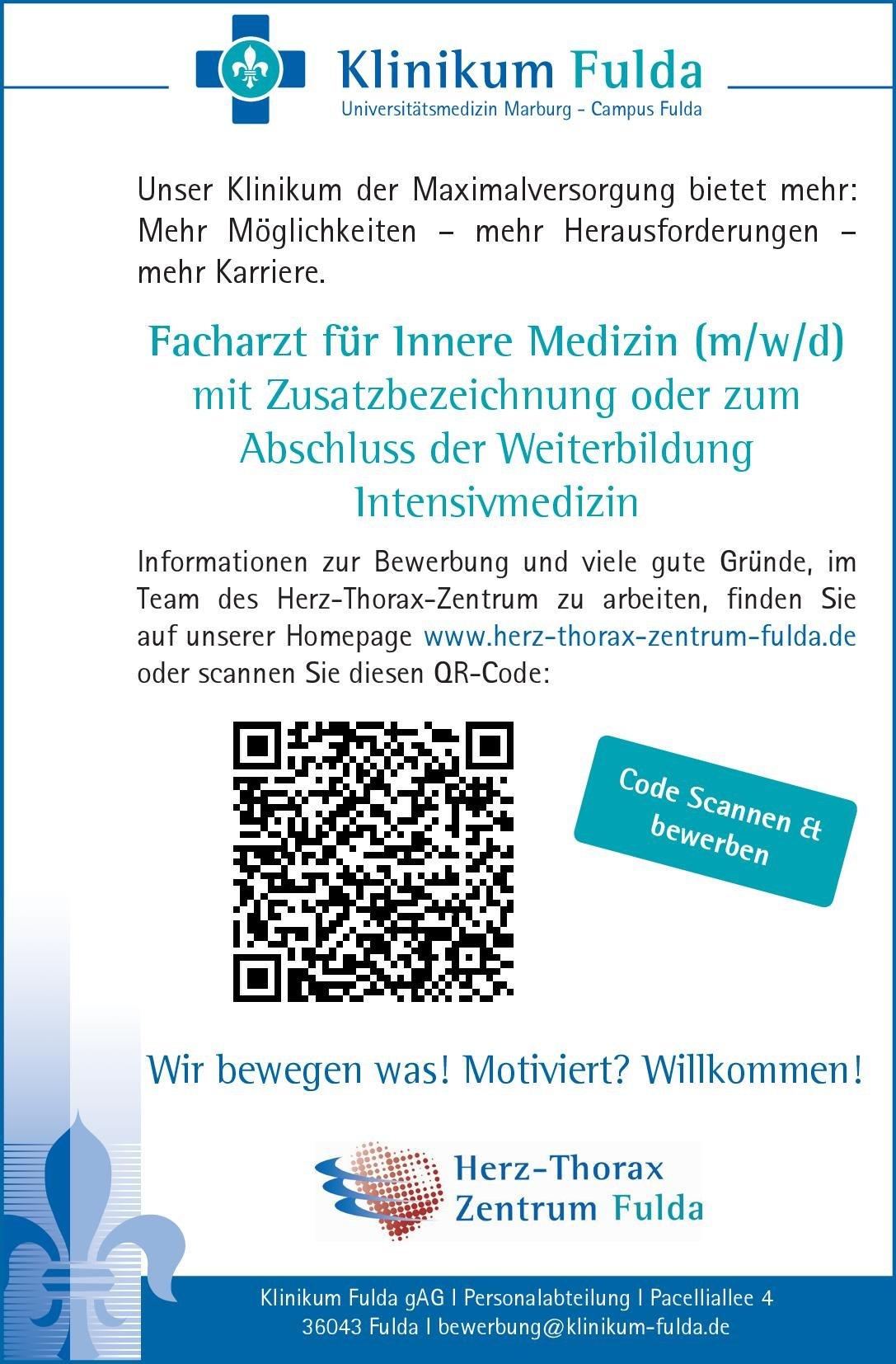 Klinikum Fulda gAG Facharzt für Innere Medizin (m/w/d) mit Zusatzbezeichnung oder zum Abschluss der Weiterbildung Intensivmedizin  Innere Medizin, Anästhesiologie / Intensivmedizin, Innere Medizin Arzt / Facharzt, Assistenzarzt / Arzt in Weiterbildung
