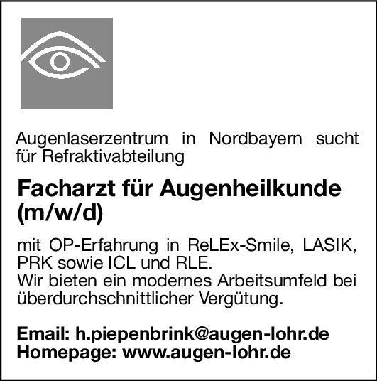 Augenlaserzentrum Facharzt für Augenheilkunde (m/w/d) Augenheilkunde Arzt / Facharzt
