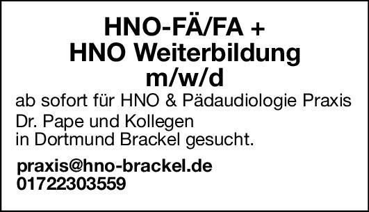 HNO & Pädaudiologie Praxis HNO-Arzt  Weiterbildung m/w/d  Hals-Nasen-Ohrenheilkunde, Hals-Nasen-Ohrenheilkunde Assistenzarzt / Arzt in Weiterbildung