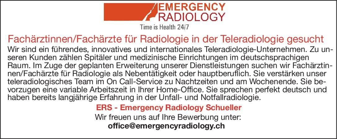 ERS Emergency Radiology Schueller Fachärztinnen /Fachärztinnen für Radiolgoie in der Teleradiologie  Radiologie, Radiologie