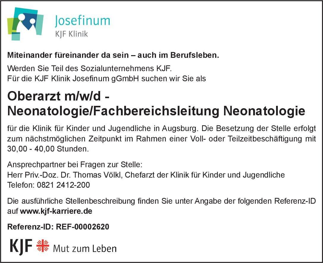 KJF Klinik Josefinum gGmbH Oberarzt m/w/d -Neonatologie/Fachbereichsleitung Neonatologie  Neonatologie, Kinder- und Jugendmedizin Oberarzt