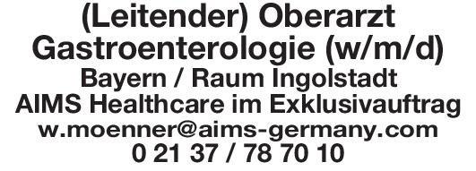 AIMS Healthcare (Leitender) Oberarzt Gastroenterologie (w/m/d)  Innere Medizin und Gastroenterologie, Innere Medizin Oberarzt
