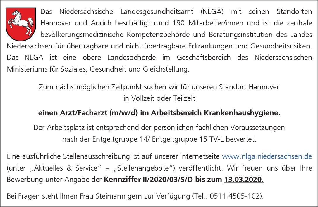 Niedersächsisches Landesgesundheitsamt Arzt/Facharzt (m/w/d) im Arbeitsbereich Krankenhaushygiene Krankenhaushygiene Arzt / Facharzt