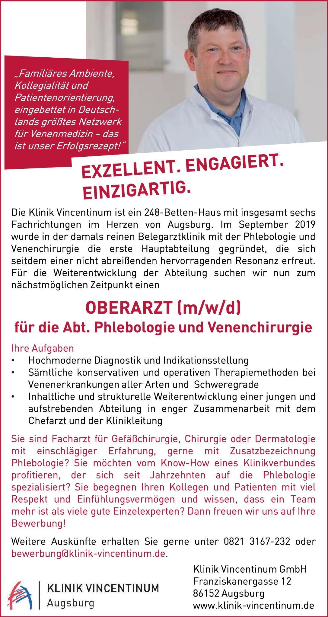 Klinikum Vincentinum GmbH Oberarzt (m/w/d) für die Abteilung Phlebologie und Venenchirurgie  Gefäßchirurgie, Chirurgie, Haut- und Geschlechtskrankheiten Oberarzt