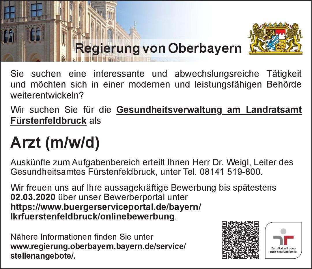 Landratsamt Fürstenfeldbruck Arzt (m/w/d) * ohne Gebiete Arzt / Facharzt