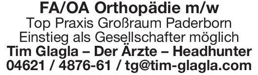 Tim Glagla – Der Ärzte – Headhunter FA/OA Orthopädie m/w  Orthopädie und Unfallchirurgie, Chirurgie Arzt / Facharzt, Oberarzt