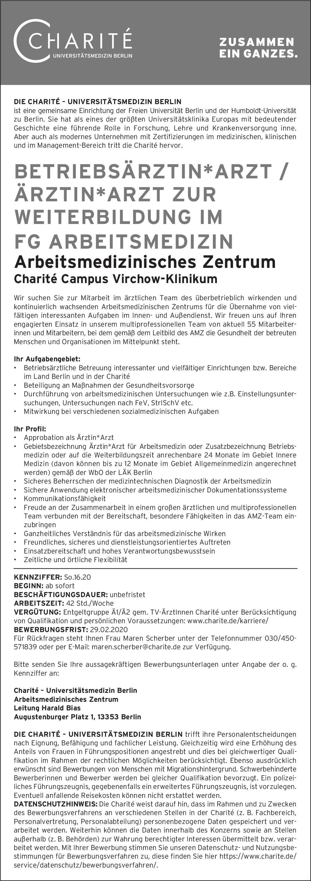 Charité – Universitätsmedizin Berlin Betriebsärztin/arzt / Arzt/Ärztin zur Weiterbildung im FG Arbeitsmedizin Arbeitsmedizin Arzt / Facharzt, Assistenzarzt / Arzt in Weiterbildung