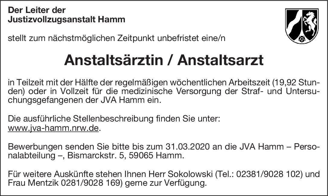 Justizvollzugsanstalt Hamm Anstaltsärztin / Anstaltsarzt * ohne Gebiete Arzt / Facharzt