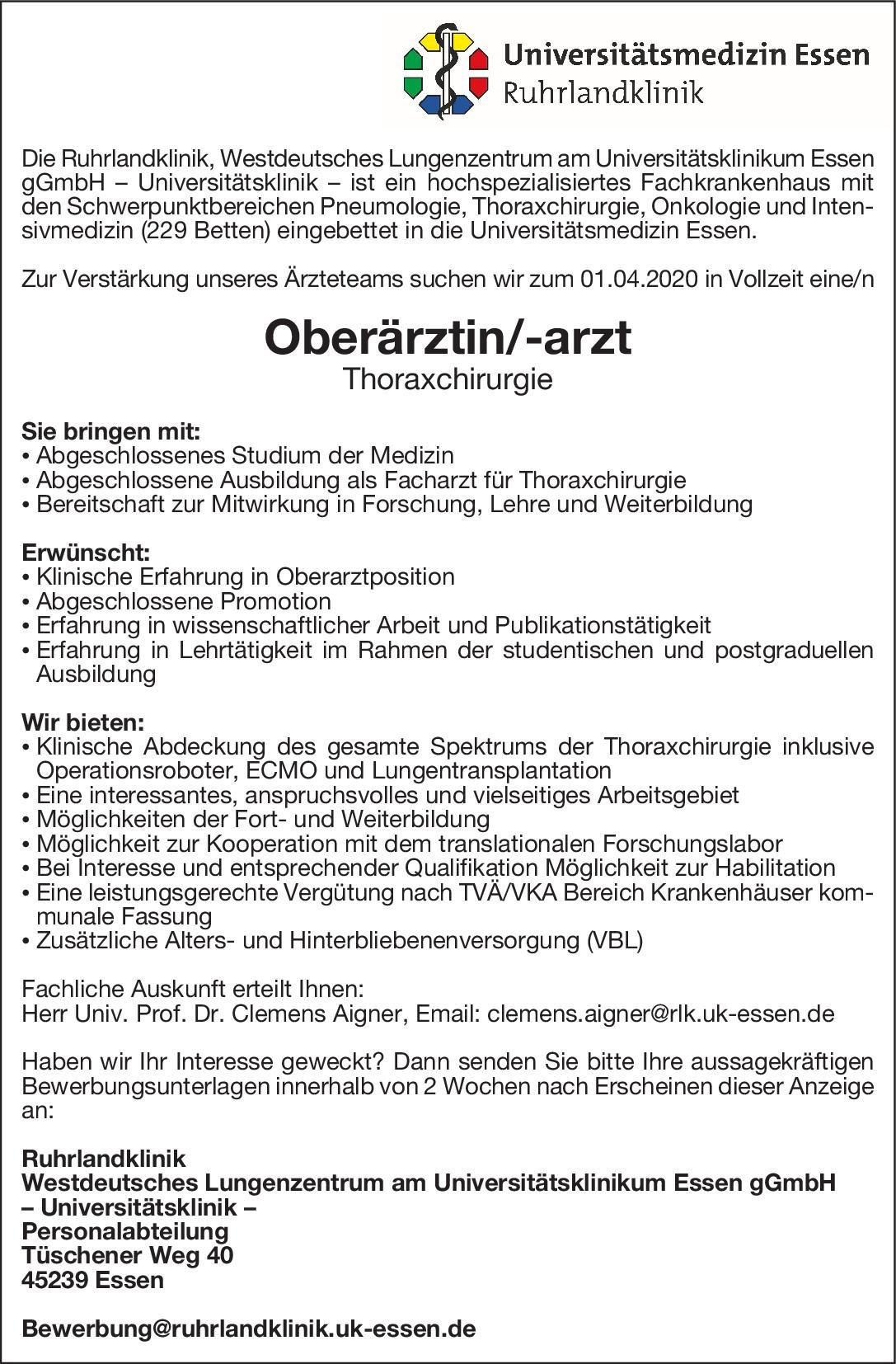 Ruhrlandklinik - Westdeutsches Lungenzentrum am Universitätsklinikum Essen gGmbH Oberärztin/-arzt Thoraxchirurgie  Thoraxchirurgie, Chirurgie Oberarzt