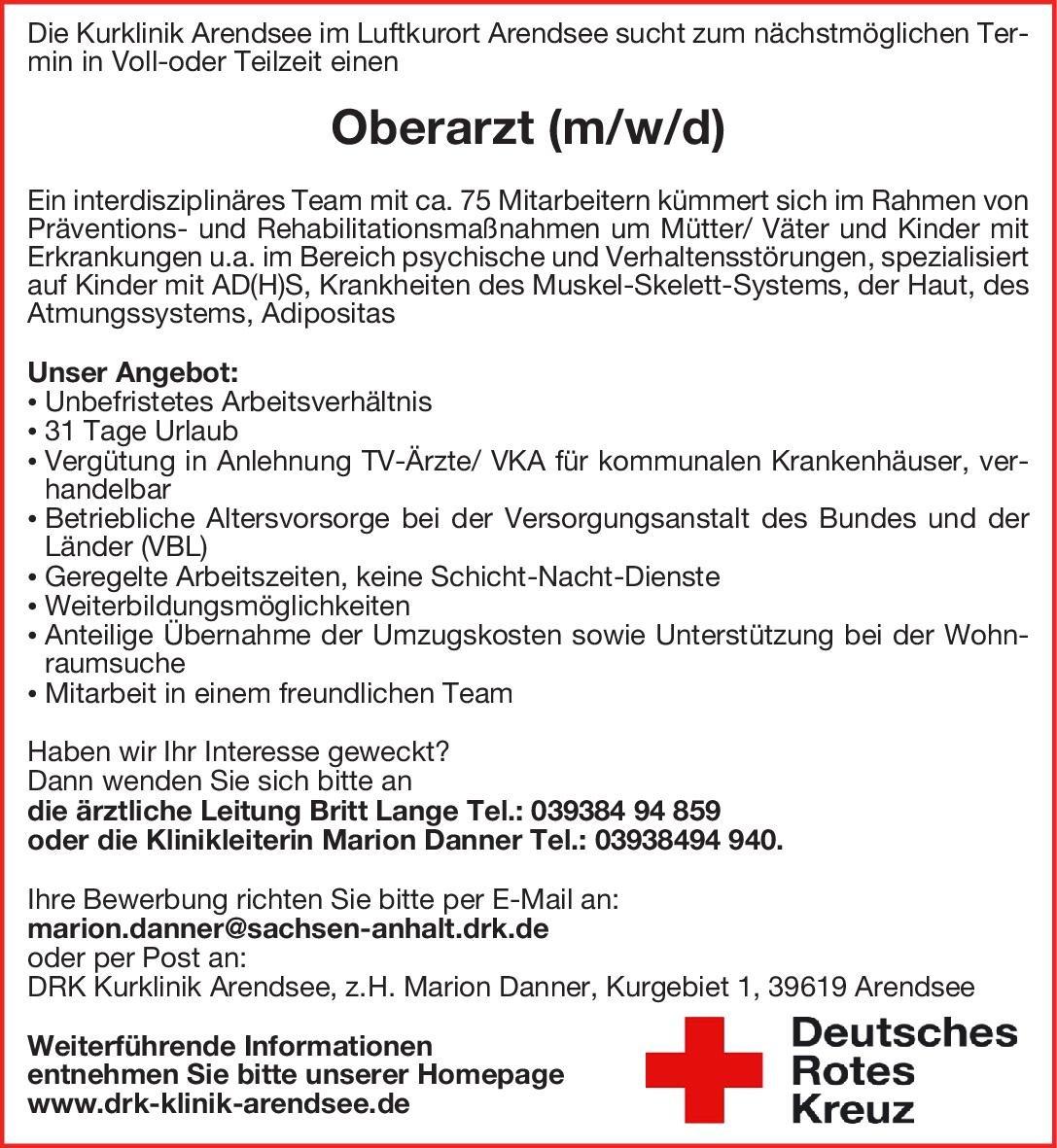 DRK Kurklinik Arendsee Oberarzt (m/w/d) Physikalische- und Rehabilitative Medizin Oberarzt