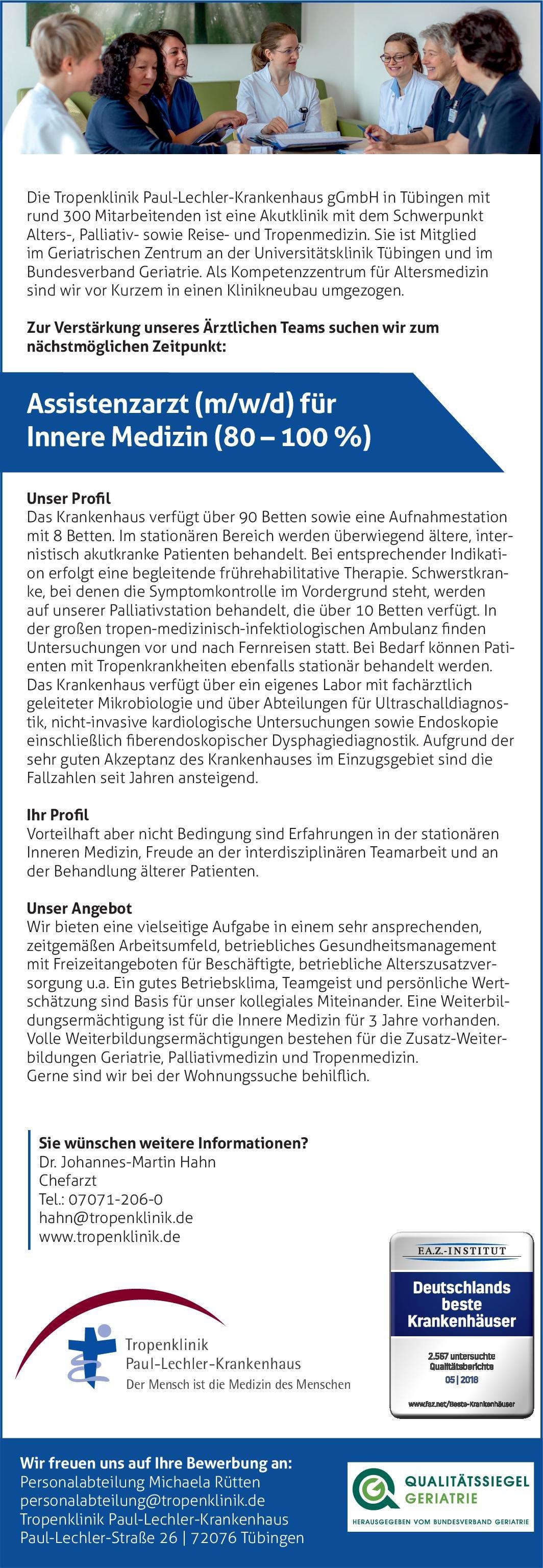Tropenklinik Paul-Lechler-Krankenhaus gGmbH Assistenzarzt (m/w/d) für Innere Medizin (80 – 100 %)  Innere Medizin, Innere Medizin Assistenzarzt / Arzt in Weiterbildung