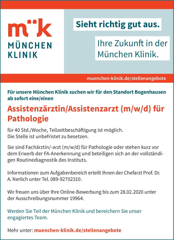 München Klinik Assistenzärztin/Assistenzarzt (m/w/d) für Pathologie  Pathologie Assistenzarzt / Arzt in Weiterbildung