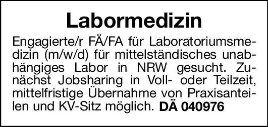 Labor Fachärztin/Facharzt für Laboratoriumsmedizin (m/w/d) Laboratoriumsmedizin Arzt / Facharzt