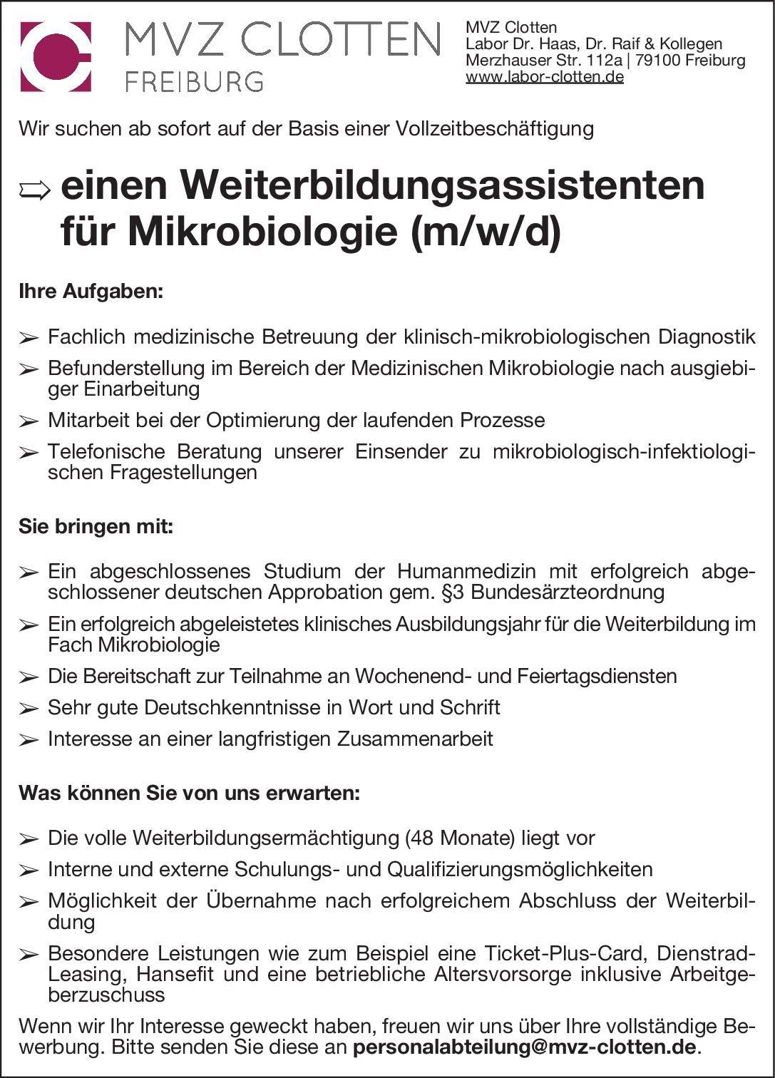 MVZ Clotten Weiterbildungsassistent für Mikrobiologie (m/w/d) Mikrobiologie und Infektionsepidemiologie Assistenzarzt / Arzt in Weiterbildung