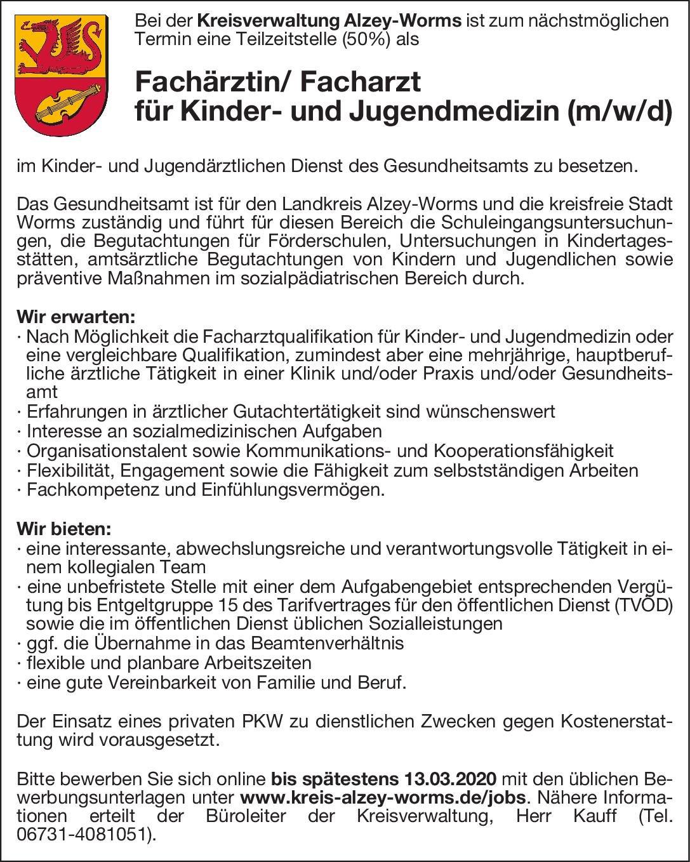 Kreisverwaltung Alzey-Worms Fachärztin/ Facharzt für Kinder- und Jugendmedizin (m/w/d)  Kinder- und Jugendmedizin, Kinder- und Jugendmedizin Arzt / Facharzt