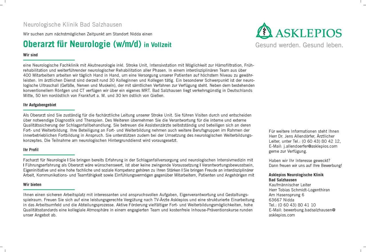 Asklepios Neurologische Klinik Bad Salzhausen Oberarzt für Neurologie (w/m/d) in Vollzeit Neurologie Oberarzt