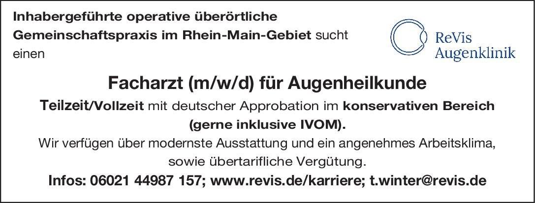 ReVis Augenklinik Facharzt (m/w/d) für Augenheilkunde Augenheilkunde Arzt / Facharzt