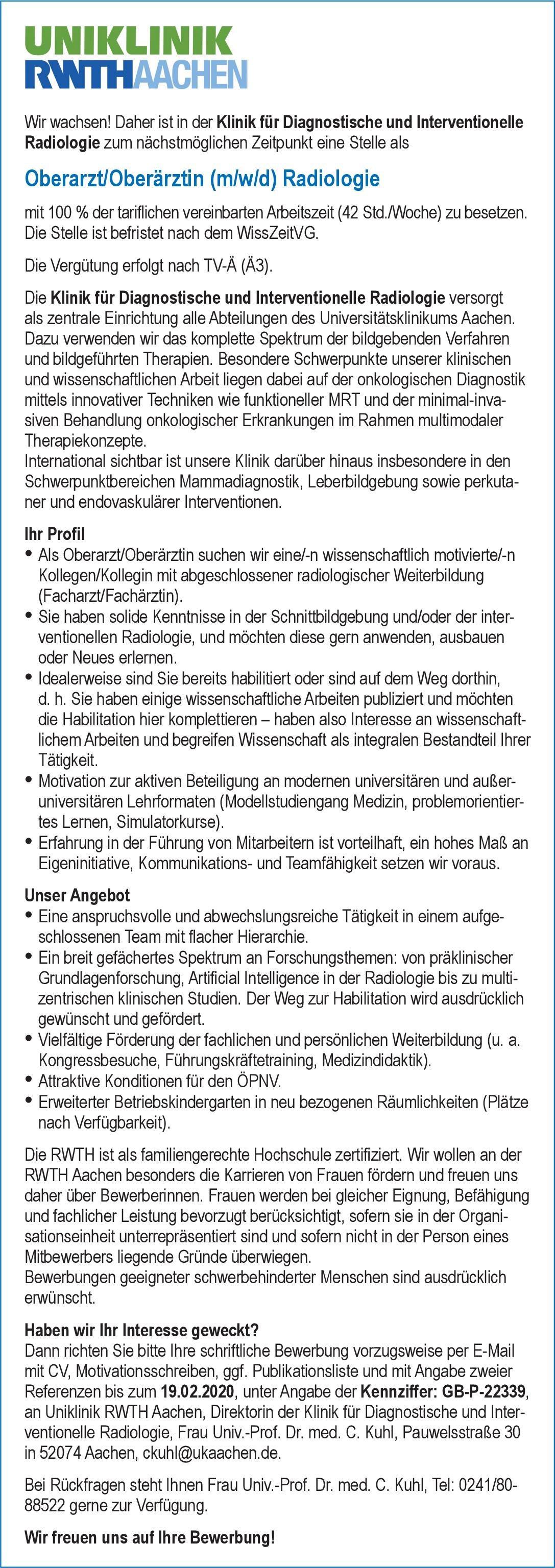 Uniklinik RWTH Aachen Oberarzt/Oberärztin (m/w/d) Radiologie  Radiologie, Radiologie Oberarzt