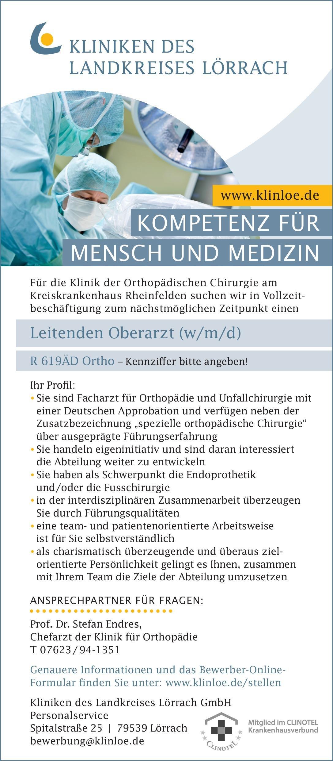 Kliniken des Landkreises Lörrach GmbH - Kreiskrankenhaus Rheinfelden Leitender Oberarzt (w/m/d) für die Klinik der Orthopädischen Chirurgie  Orthopädie und Unfallchirurgie, Chirurgie Oberarzt