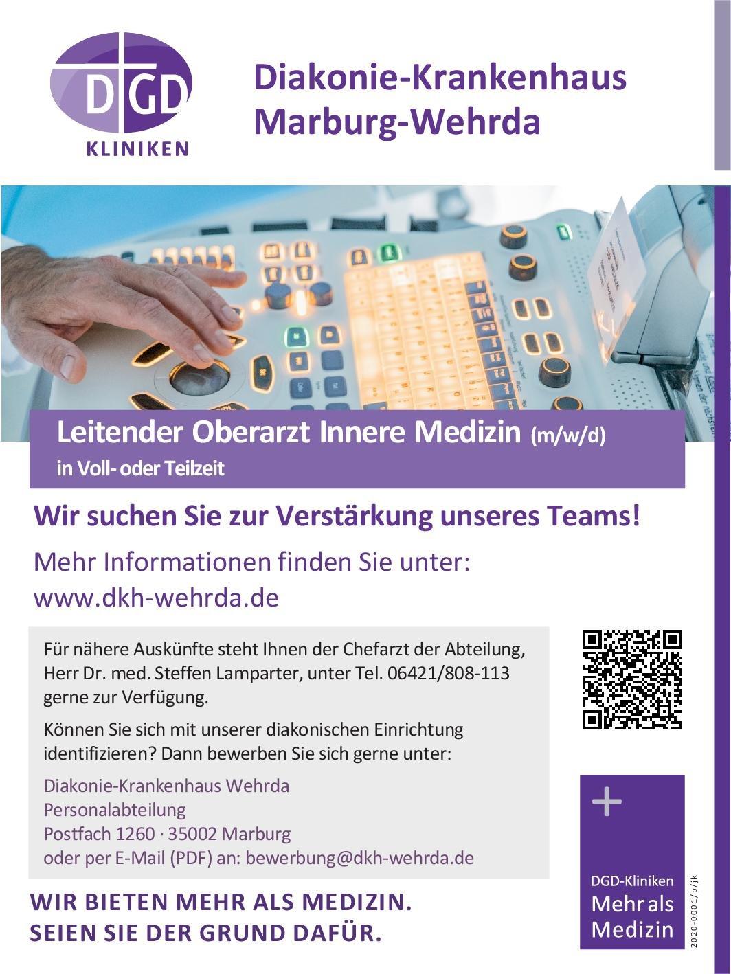 Diakonie-Krankenhaus Wehrda Leitender Oberarzt Innere Medizin (m/w/d)  Innere Medizin, Innere Medizin Oberarzt
