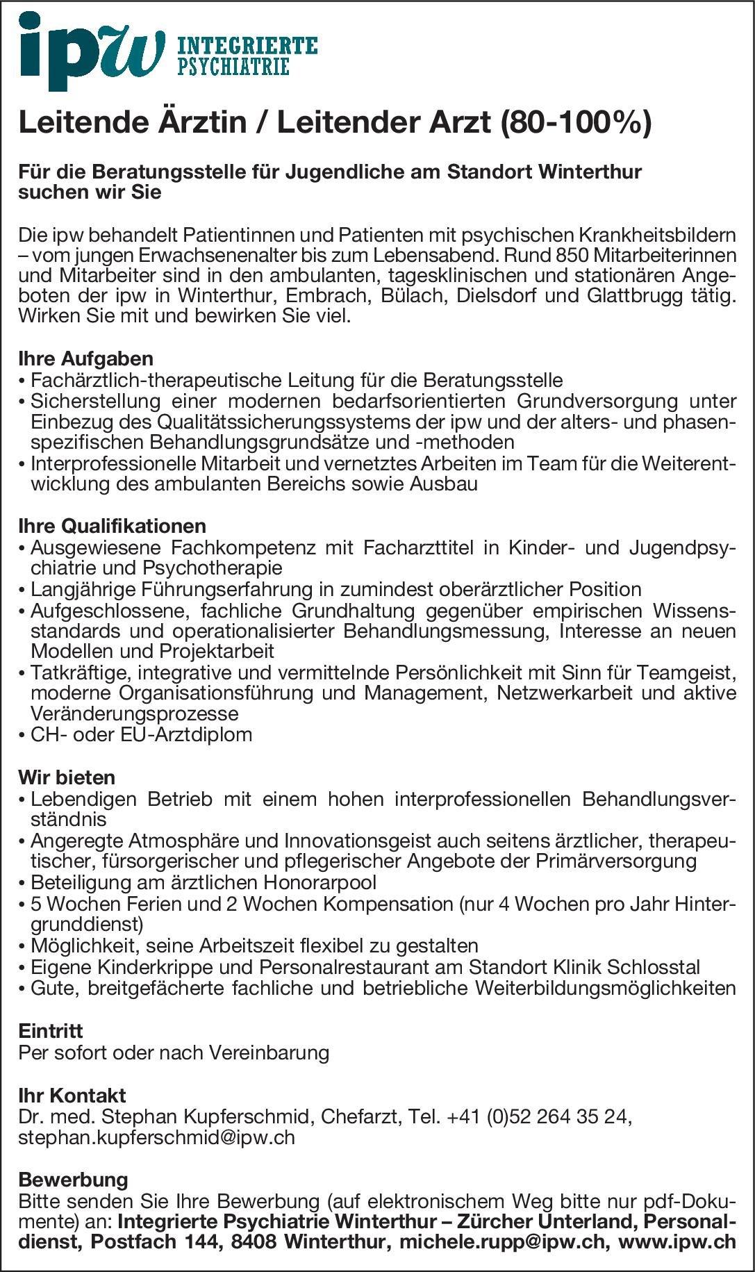 Integrierte Psychiatrie Winterthur – Zürcher Unterland Leitende Ärztin / Leitender Arzt (80-100%) Kinder- und Jugendpsychiatrie und -psychotherapie Arzt / Facharzt, Ärztl. Leiter