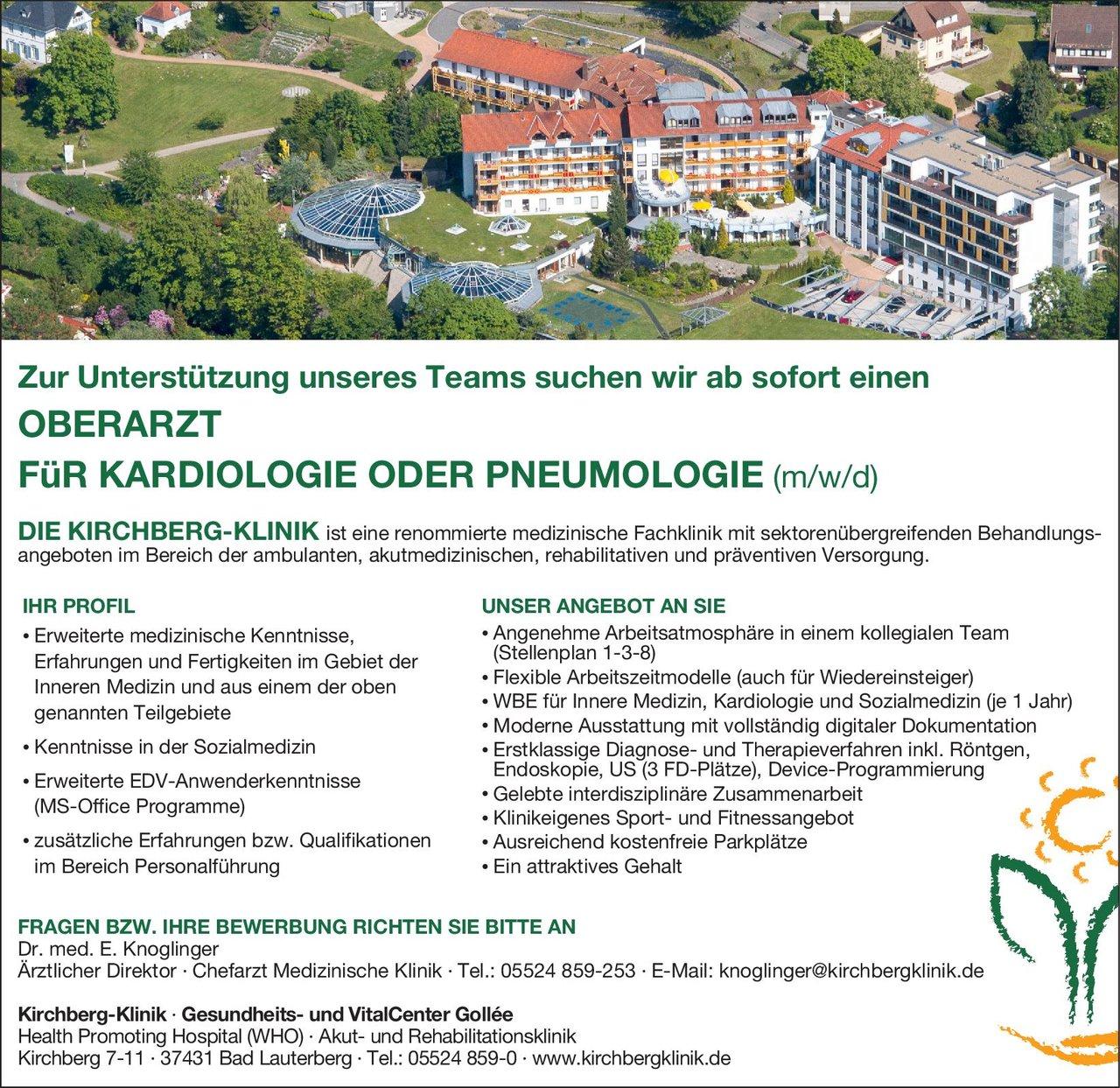 Kirchberg-Klinik Oberarzt für Kardiologie oder Pneumologie (m/w/d)  Innere Medizin und Kardiologie, Innere Medizin und Pneumologie, Innere Medizin Oberarzt