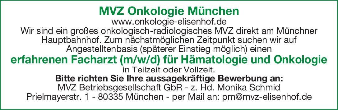 MVZ Onkologie München - Elisenhof Facharzt (m/w/d) für Hämatologie und Onkologie  Innere Medizin und Hämatologie und Onkologie, Innere Medizin Arzt / Facharzt