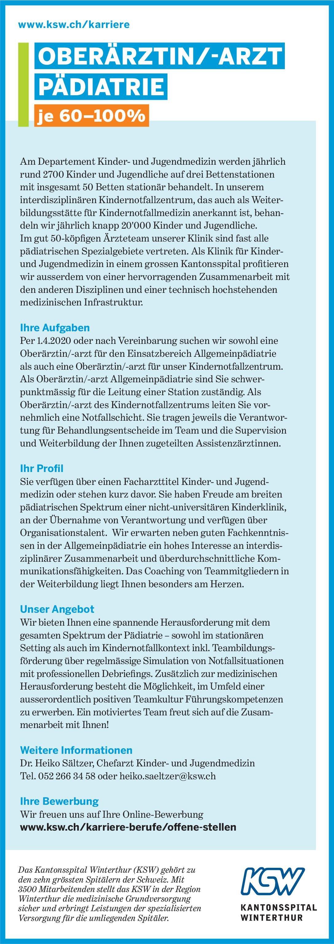 Kantonsspital Winterthur Oberärztin/-arzt Pädiatrie  Kinder- und Jugendmedizin, Kinder- und Jugendmedizin Oberarzt