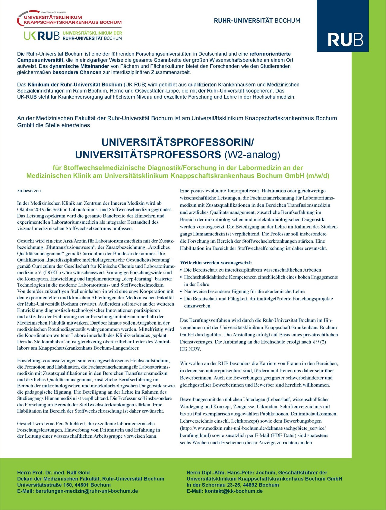 Ruhr-Universität Bochum - Ruhr-Universität Bochum Universitätsprofessorin/Universitätsprofessor (W2-analog) Laboratoriumsmedizin, Transfusionsmedizin Arzt / Facharzt, Professor