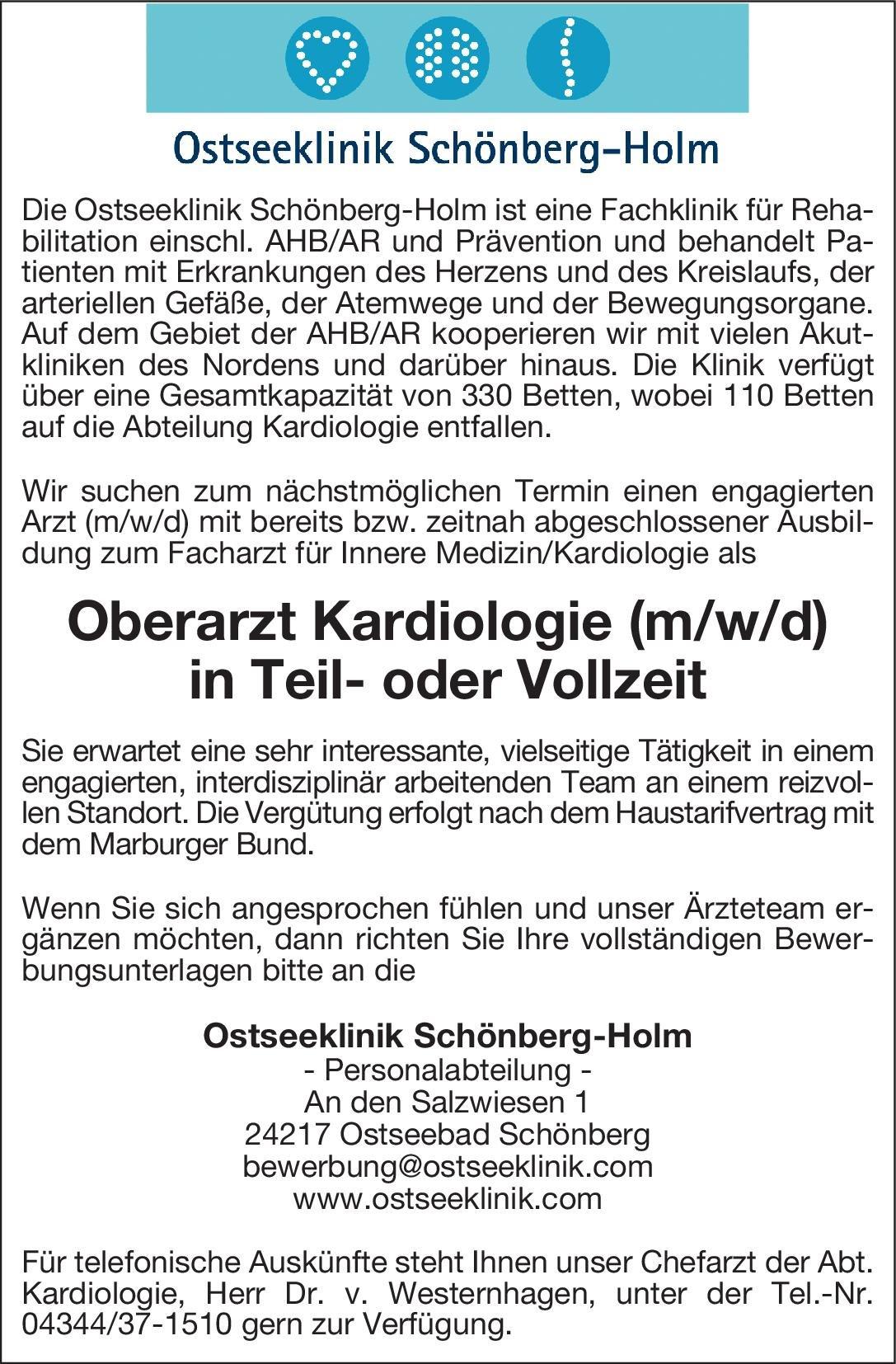 Ostseeklinik Schönberg-Holm Oberarzt Kardiologie (m/w/d)  Innere Medizin und Kardiologie, Innere Medizin Oberarzt