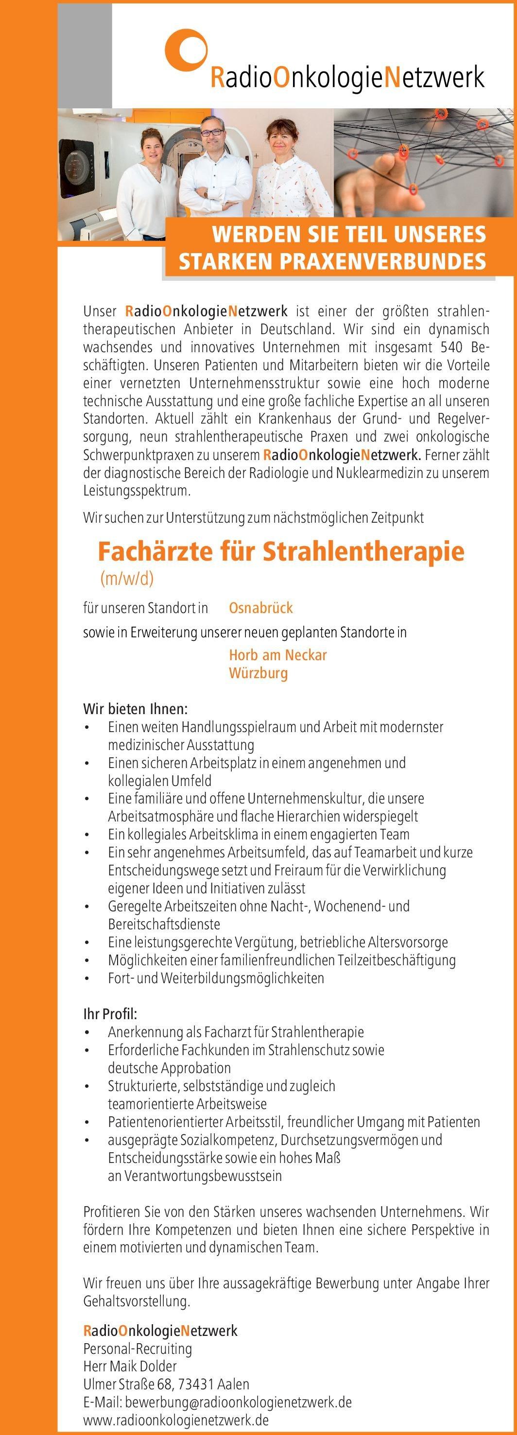RadioOnkologieNetzwerk Fachärzte für Strahlentherapie (m/w/d) Strahlentherapie Arzt / Facharzt