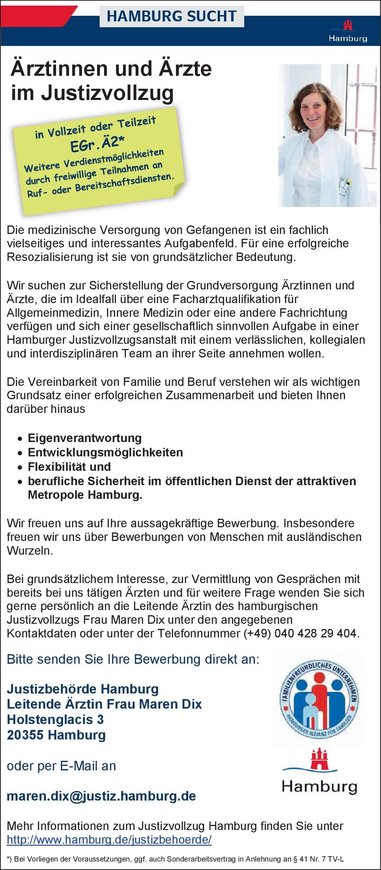 Justizbehörde Hamburg Ärztinnen und Ärzte im Justizvollzug  Innere Medizin, Allgemeinmedizin, Innere Medizin Arzt / Facharzt