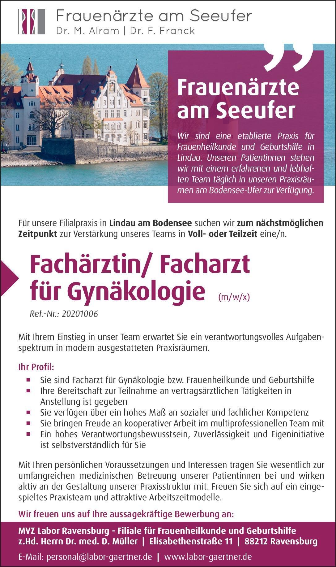 Frauenärzte am Seeufer Fachärztin/Facharzt für Gynäkologie (m/w/x)  Frauenheilkunde und Geburtshilfe, Frauenheilkunde und Geburtshilfe Arzt / Facharzt