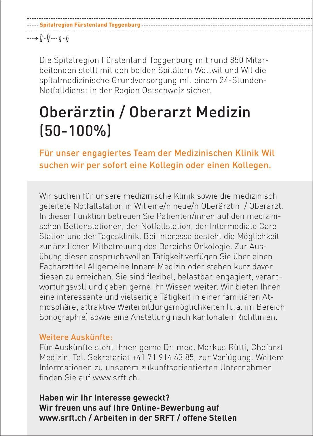 Spitalregion Fürstenland Toggenburg Oberärztin/Oberarzt Medizin (50-100%) Notfallmedizin Oberarzt