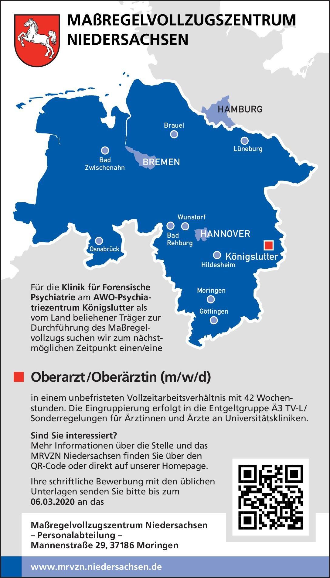 Maßregelvollzugszentrum Niedersachsen - AWO-Psychiatriezentrum Königslutter Oberarzt /Oberärztin (m/w/d) für die Klinik für Forensische Psychiatrie  Forensische Psychiatrie, Psychiatrie und Psychotherapie Oberarzt